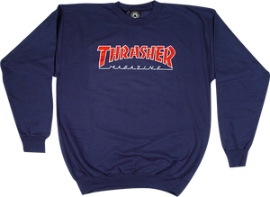 THRASHER OUTLINED CREW/SWT S-NAVY/RED