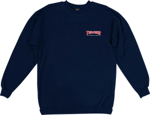 THRASHER OUTLINED EMBROIDERED CREW/SWT L-NAVY