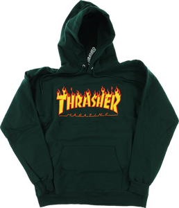 THRASHER FLAMES HD/SWT L-FOREST GREEN