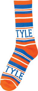 BRO STYLE HOME TEAM CREW SOCKS-ORG/BLUE 1 pair