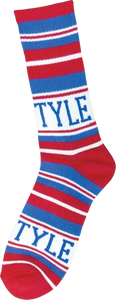 BRO STYLE HOME TEAM CREW SOCKS-RED/BLUE 1 pair
