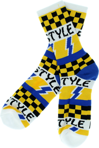 BRO STYLE LIGHTENING BOLT CREW SOCKS-WHT 1 pair