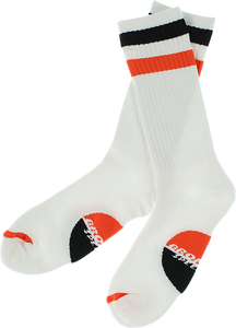 BRONSON SPEED CO. RACING STRIPES CREW SOCKS WHITE 1pr