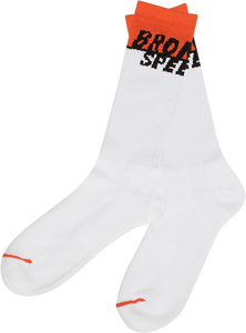 BRONSON SPEED CO. STARTING LINE CREW SOCKS WHITE 1pr