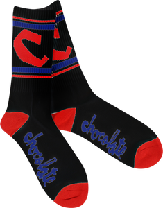 CHOC CHUNK C STRIPE SOCKS BLK/RED/BLUE single pair