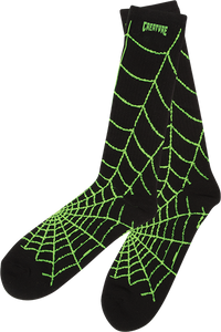 CREATURE WEBBERS CREW SOCKS BLACK/GREEN 1pr