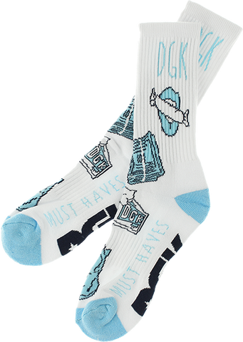 DGK MUST HAVES CREW SOCKS WHITE/BLU 1pair
