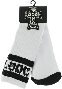 DOGTOWN TUBE SOCKS WHITE/BLK 1pr