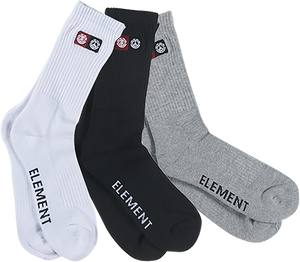 ELE PEACE 3/PACK SOCKS ASSORTED (WHT/BLK/GREY)