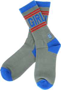 GIRL JOCK CREW SOCKS GREY/BLU/RED single pair