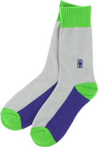GIRL OG CREW SOCKS CREAM/GRN/BLUE single pair
