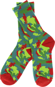 GIRL OG JUNGLE CREW SOCKS RED/GRN single pair