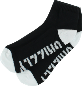 GRIZZLY STAMP LO CUT SOCKS-BLK/WHT 1pr