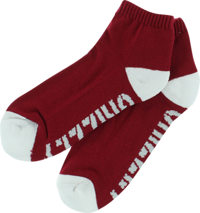 GRIZZLY STAMP LO CUT SOCKS-RED/WHT 1pr