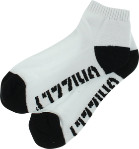 GRIZZLY STAMP LO CUT SOCKS-WHT/BLK 1pr