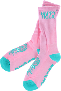 HAPPY HR MUCHO RELAXO CREW SOCKS PINK/TEAL