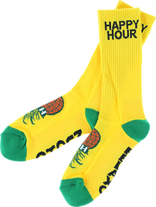 HAPPY HR MUCHO RELAXO CREW SOCKS YELLOW