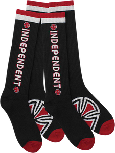 INDE BAR/CROSS TALL SOCKS BLK 2 pair bundle