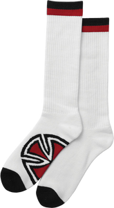 INDE BAR/CROSS TALL SOCKS WHT 2 pair bundle
