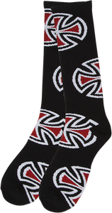 INDEPENDENT CROSSES TALL CREW SOCKS BLACK 1pair