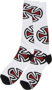 INDEPENDENT CROSSES TALL CREW SOCKS WHITE 1pair