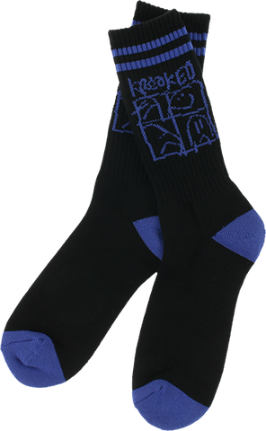 KROOKED SKATEBOARDS KR ULTRA CREW SOCKS BLK/BLU 1pr
