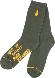 KROOKED SKATEBOARDS SHMOLO II CREW SOCKS PINE GRN/GOLD 1 pair