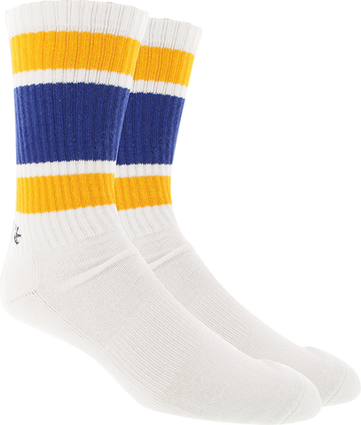 KURB SOCKS MENS CREW 121 STRIPE WHT/BLUE