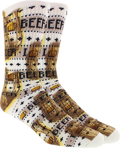 KURB SOCKS MENS CREW BEER ISLAND 360 CREW WHITE