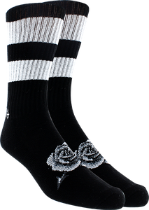 KURB SOCKS MENS CREW DEATH ROSE BLK/WHT