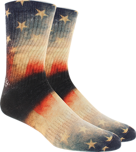 KURB SOCKS MENS CREW OLD GLORY 360 BLACK