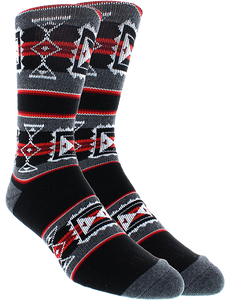 KURB SOCKS MENS CREW SADDLE BLANKET BLK/GREY/RED