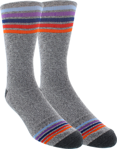 KURB SOCKS MENS CREW SPORT STRIPE GREY