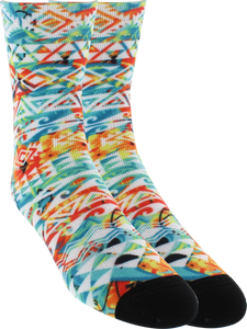 KURB SOCKS WOMENS CREW BIG ISLAND WHT/ASST