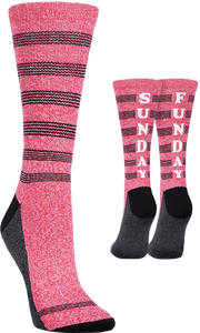 KURB SOCKS WOMENS CREW SUNDAY FUNDAY TRI PINK