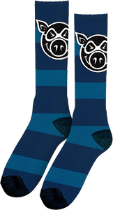 PIG WHEELS STRIPE TALL SOCKS BLUE 1 pair