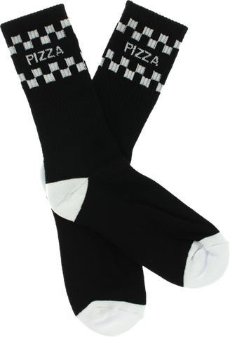 PIZZA CHECK CREW SOCKS BLK/WHT 1 pair