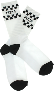PIZZA CHECK CREW SOCKS WHT/BLK 1 pair