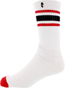 PSOCKADELIC HIGH TIMES CREW SOCKS WHT/RED/BLK 1pr