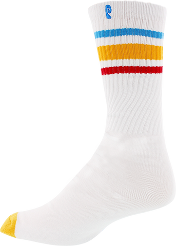 PSOCKADELIC HIGH TIMES CREW SOCKS WHT/YEL/RED 1pr
