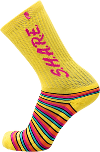PSOCKADELIC SHARE CREW SOCKS YELLOW 1pr