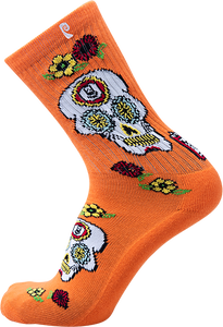 PSOCKADELIC COLE SKULL CREW SOCKS ORANGE