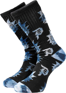 PRIMITIVE SKATEBOARD R&M DIRTY P RICK CREW SOCKS BLK/BLUE DYE