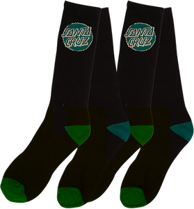 SANTA CRUZ CRUZ LOGO SOCKS BLACK/HUNTER GRN 2/PAIRS