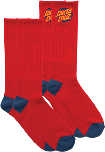 SC CRUZ LOGO SOCKS RED 2 pair bundle
