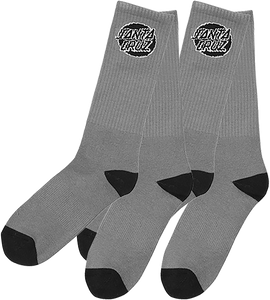 SANTA CRUZ CRUZ LOGO SOCKS GREY 2 pair bundle