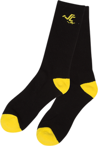 SANTA CRUZ PUSHER CREW SOCKS BLACK/YEL 1pr