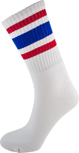 SOCCO SOCKS S/M CREW STRIPE WHT/RED/BLUE 1pr