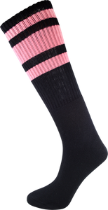 SOCCO KNEE HIGH BLK/PNK SOCKS(6-9)1pair