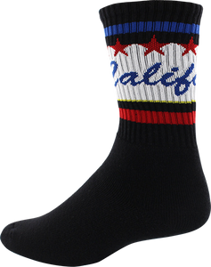 SOCCO SOCKS L/XL CREW CALI WORDS BLACK 1pr